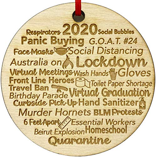 Quarantine 2020 Christmas Ornament|Engraved Wood 2020 Events Rustic Christmas Ornaments Quarantine Gift for Friends & Family Members| Outstanding Christmas Tree Ornaments (Birch3)