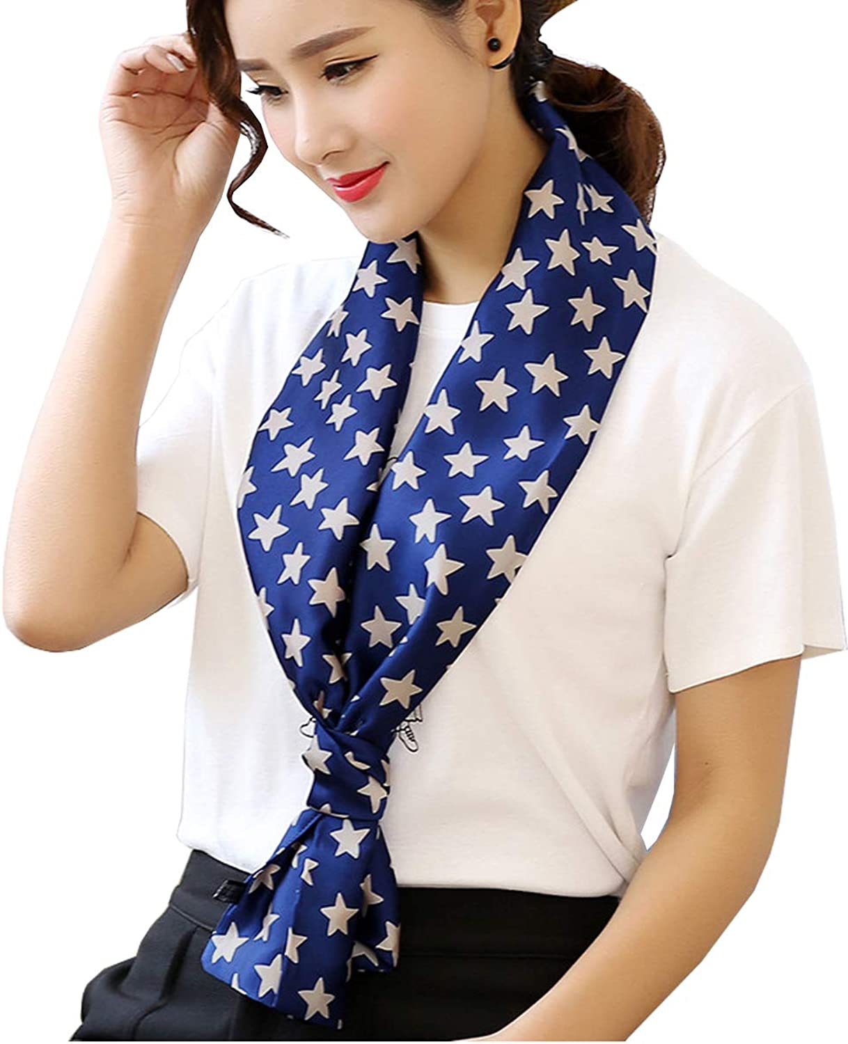 Blingfit Womens Fashion satin Silk Scarves Double layer