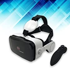 VIRTUAL VISIONS Virtual Reality Headset With Earphones By JayTec, 3D VR Goggles With Free Game Controller, For Virtual Reality Games And Movies, Compatible With 4.7-6.2 iPhone and Android Devices