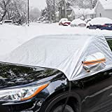 Universal Fit Windshield Snow Cover for Cars, Compact and...