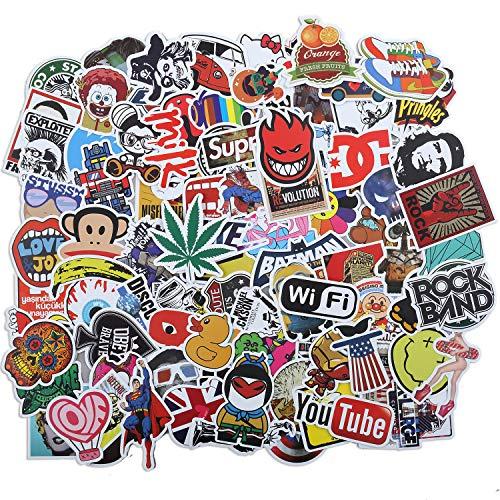 Laptop Stickers 100 Pcs Waterproof Vinyl Cute Cool Stickers for Skateboard Water Bottle MacBook Car Luggage, Graffiti Brand Logo Stickers Pack for Kids Teens Adult