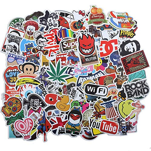Laptop Stickers 100 Pcs Waterproof Vinyl Cute Cool Stickers for Skateboard Water Bottle MacBook Car Luggage, Graffiti Brand Logo Stickers Pack for Kids Teens Adult
