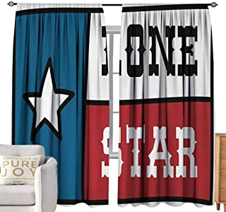 Andrea Sam Teal Curtains Texas Star,Lone Star Flag United States of America Themed Patriotic Design,Cobalt Blue Ruby White W108 x L108 inch,Blackout Curtain Panels Window Draperies