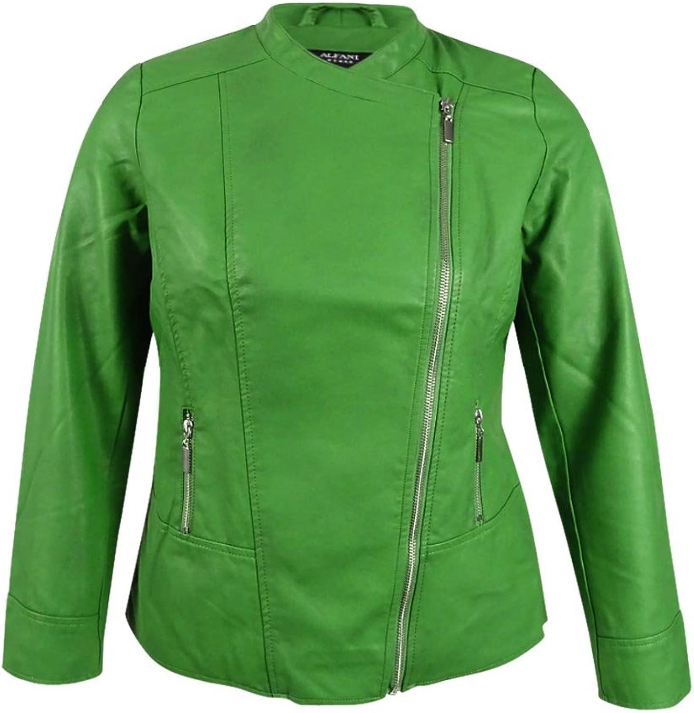 Alfani Womens Petites Pleather Solid Motorcycle Jacket