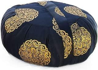 Taraluna Zen Zafu Sitting or Meditation Cushion with Silk Brocade Cover