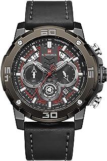 ساعة انالوج كلاسيكية بمينا سوداء وسوار جلد اصلي للرجال من نافي فورس - NF9175-BBB