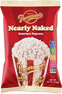 Popcornopolis Gourmet Popcorn Snack Bags, Pack of 24 Nearly Naked 0.55 Ounce Bags
