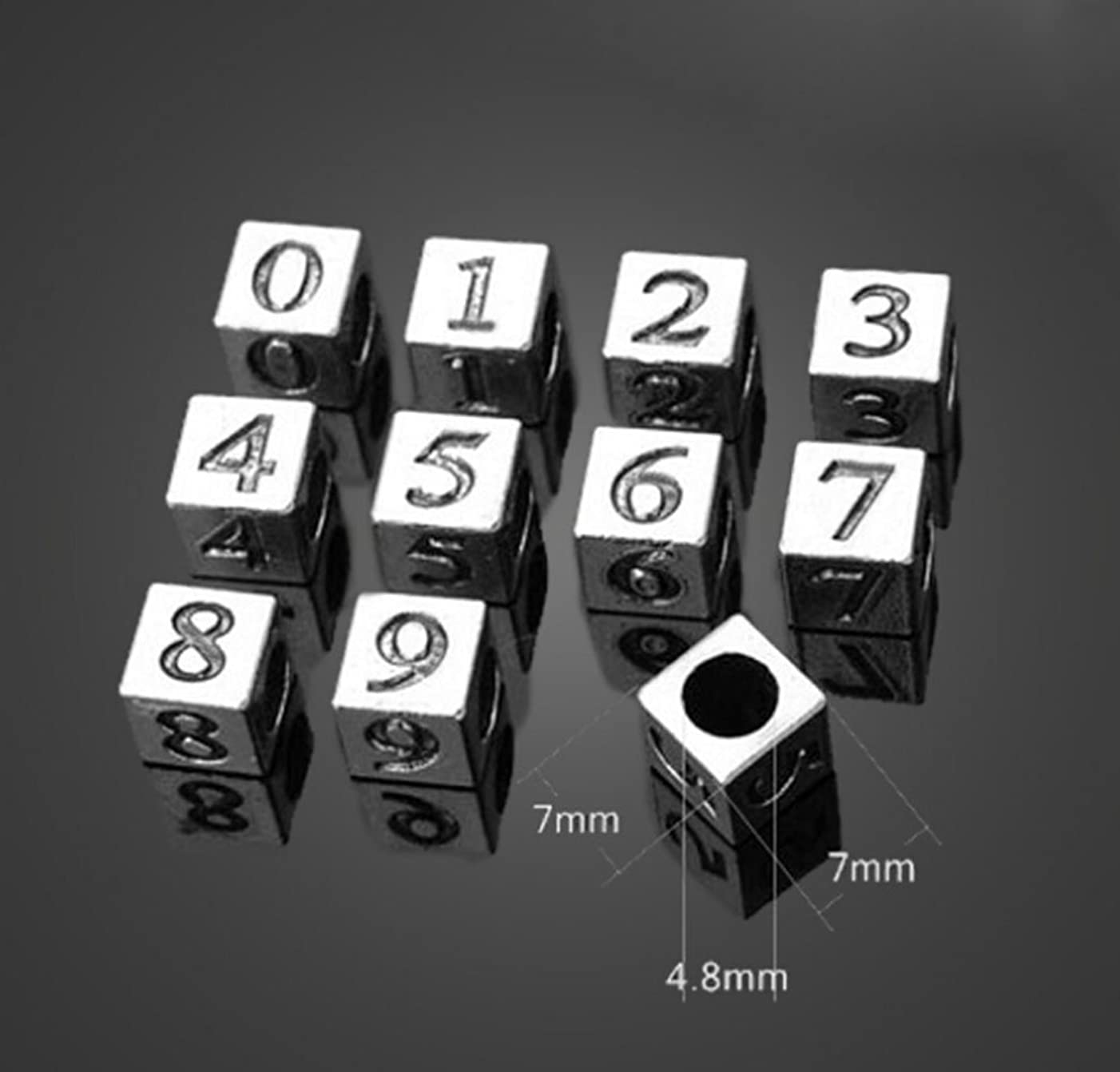 Honbay 30PCS Metal Number 0-9 Coin Spacer Beads 7x7mm Hole: 4.8mm