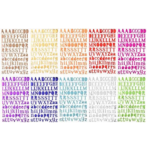 10 Blätter Alphabet Buchstaben Aufkleber Selbstklebende Fun Stickers-adesivi Deko für Grußkarten Aufkleberbogen 10 Farben