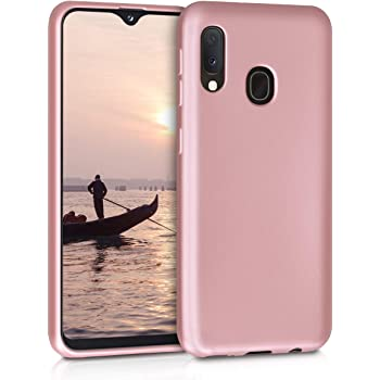 kwmobile TPU Silicone Case Compatible with Samsung Galaxy A20e - Soft Flexible Protective Phone Cover - Metallic Rose Gold