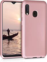 kwmobile TPU Silicone Case for Samsung Galaxy A20e - Soft Flexible Shock Absorbent Protective Phone Cover - Metallic Rose Gold
