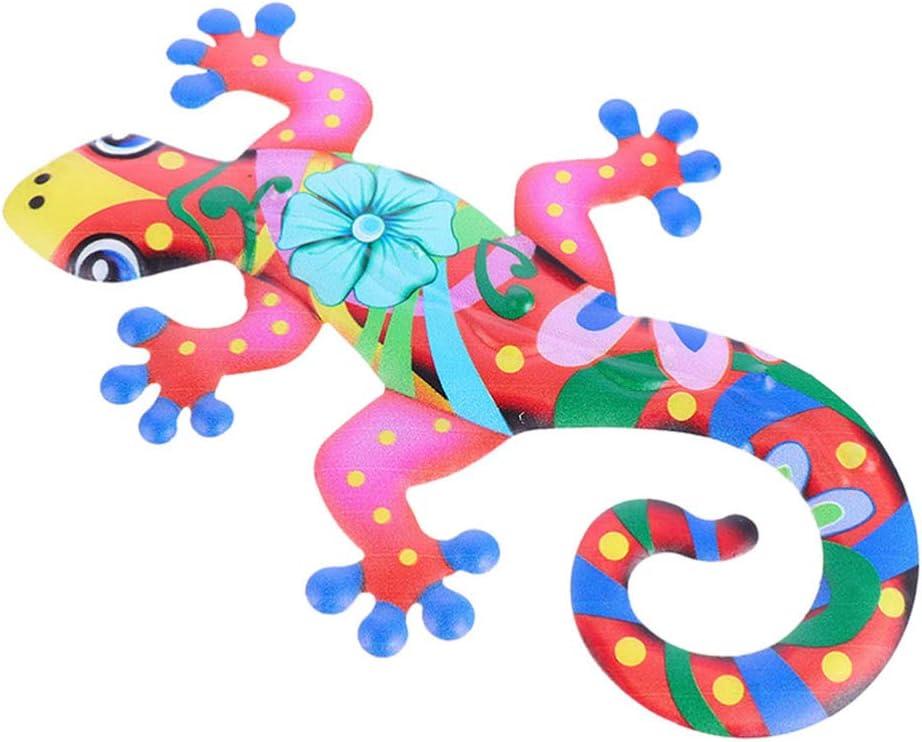 HEMOTON Metal Gecko Wall Decor Colorful Lizard Wall Sculpture Garden Yard Art for Indoor Outdoor