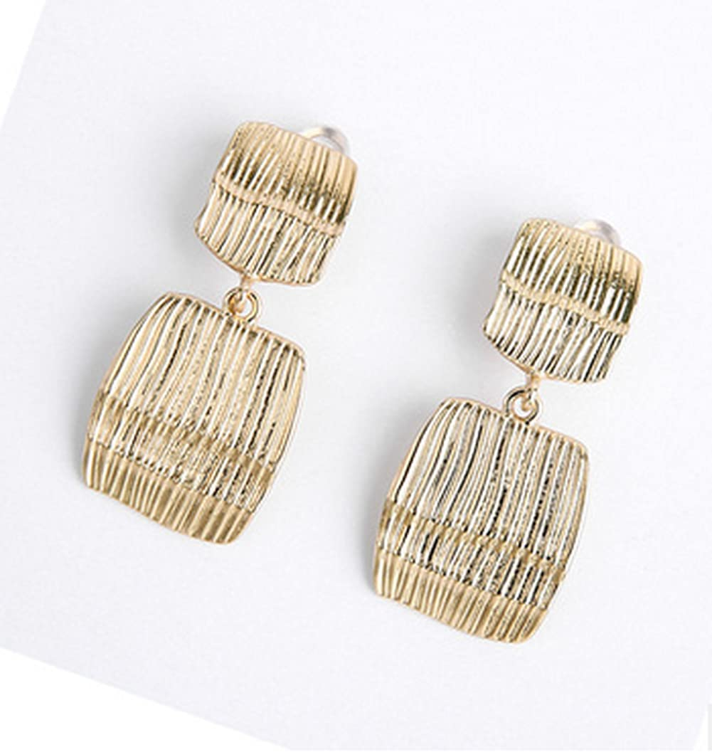 Tcplyn 1 Pairs Clip On Drop Earrings Set Leaf Round Trapezoid Square Rectangle Golden Metal Geometric Clipon Earrings-Non Piercing Dangle Earrings Useful
