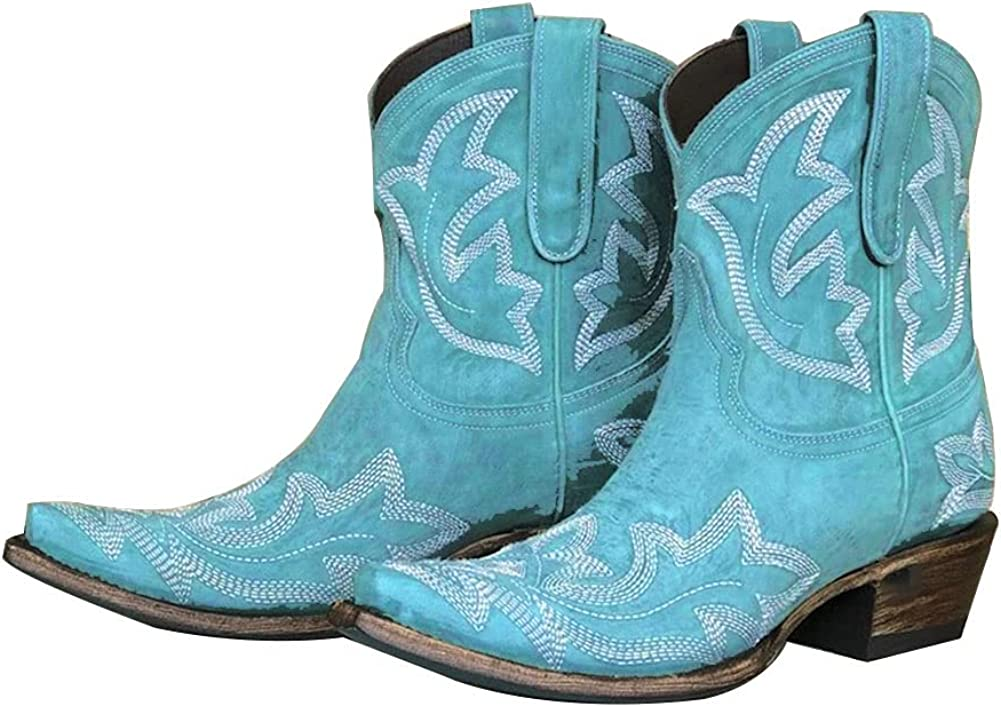 Vimisaoi Women's Ankle Boots Retro Colorful Flower Pointed Toe Pull On Block Chunky Mid Heel Embroidered Western Cowboy Cowgirl Boots