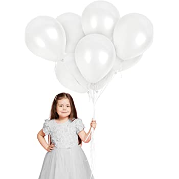 New 75pcs White Balloons Pack by SAMIKA for Birthday Party,Baby Shower Milky White Anniversary Wedding Decor