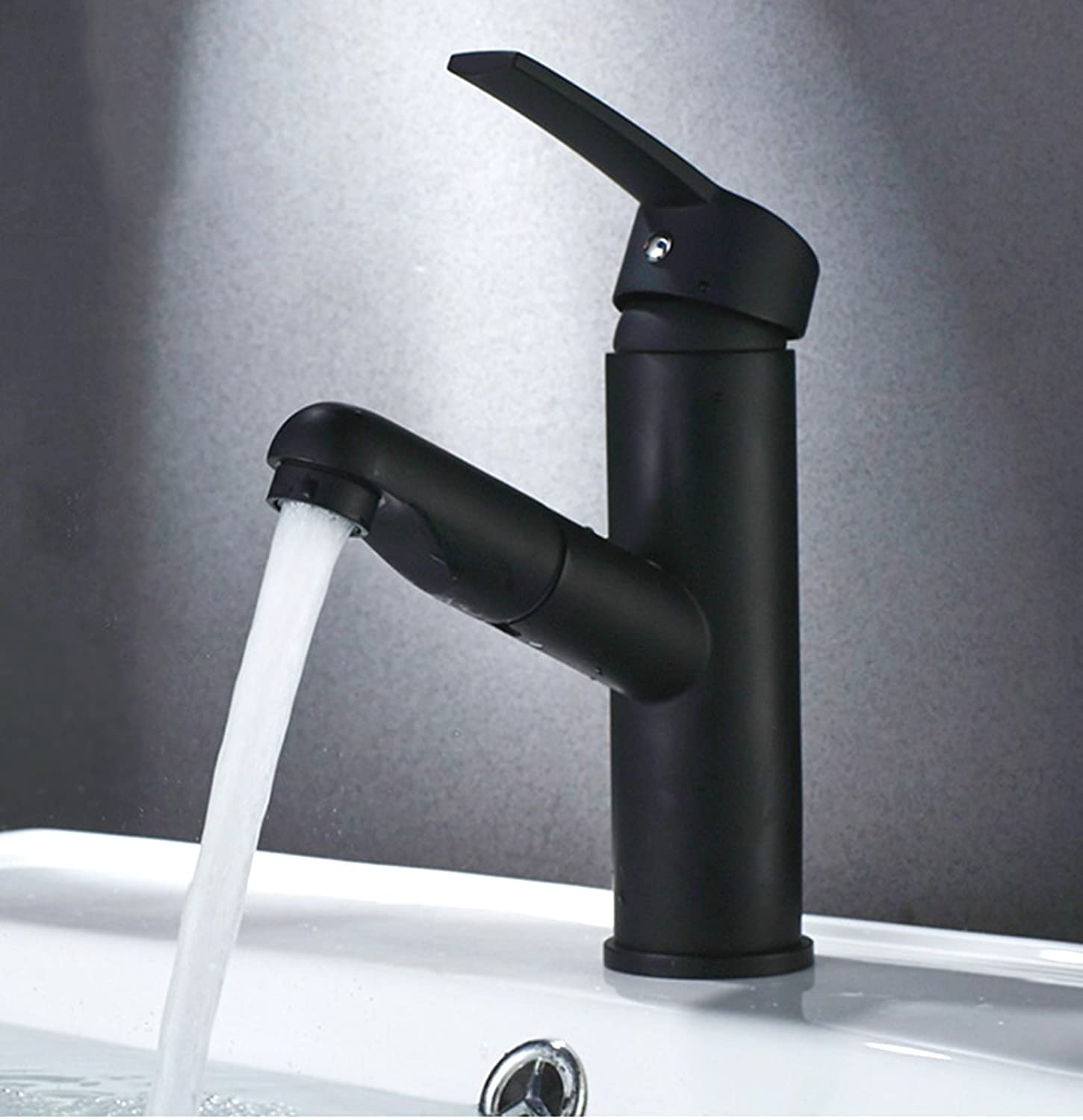 QJIAXING Bathroom Sink Taps Pull-Type Matte Black Copper Single Hole Hot And Cold Water Mixer Basin Faucets Short