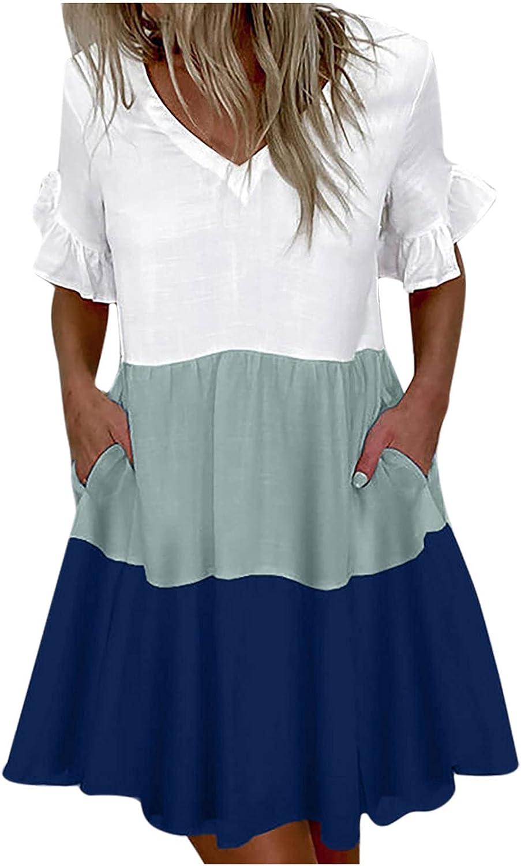 JiHua Summer V-Neck Ruffle Loose Pockets Dress for Women Casual Stripe Printing Short Sleeve Flowy Girls Swing Dresses