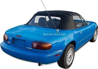 Sierra Auto Tops Mazda Miata, 1990-2005 Cabrio Vinyl Complete Convertible Top Replacement with Clear Plastic Window with Rain Rail, Black