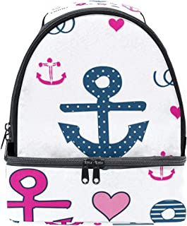 Mydaily Kids Lunch Box Cute Anchor and Heart Reusable Insulated School Lunch Tote Bag