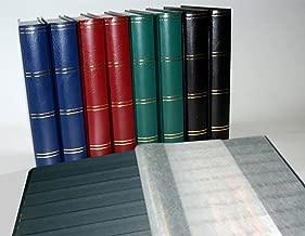 Prophila Lighthouse Stamp Album Stockbook 60 Black Sides, Leatherette Padded Green Cover