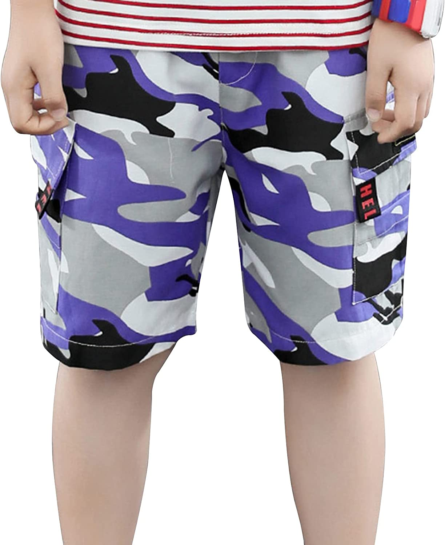 TiaoBug Kids Boys Fashion Caigo Shorts Camoufalge Print Pull-on Shorts Stretch Flat Front Short