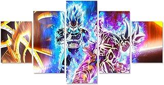 QJXX Goku VS Vegeta 5 Piece Canvas Prints Wall Art Dragon Ball Pictures Paintings for Living Room Bedroom Home Decorations Modern Artwork,B,20cm35x2+20x45x2+20x55x1