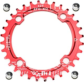 FOMTOR 30T 32T 34T 36T 38T Chainring 104 BCD Narrow Wide Chainring with Four Chainring Bolts for Road Bike, Mountain Bike, BMX MTB Bike (Red)
