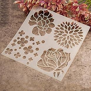 Gemini_mall® Fashion Painting Template Stencil Scrapbooking Album Cake Coffee DIY Art Decor (Flower):Tourlombok-piranti
