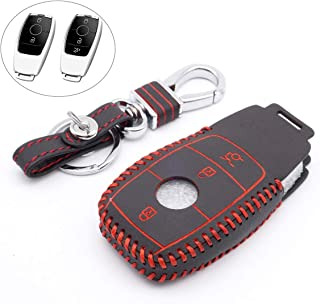 Royalfox(TM) 2/3 Buttons Fashion Genuine Leather keyless Remote Smart Key Fob case Cover Keychain for Mercedes Benz E Class, S Class W213 2017 2018 2019 black/red
