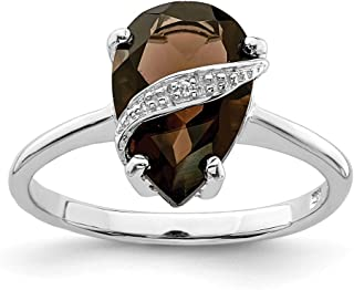 925 Sterling Silver Pear Smoky Quartz Diamond Band Ring Stone Gemstone Fine Jewelry For Women Gift Set