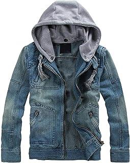 Lentta Men's Slim Fit Zip Up Removable Hooded Drawstring Denim Jean Biker Jacket