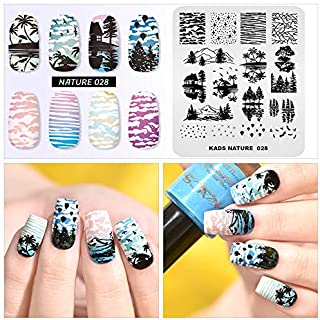 Nail Stamping Plate Fashion Nature Lake Lakeside River Seaside Jungle Night Sky Theme Multi-Pattern Stamp Print Image Stamp Template Nail Art for Nail Design By Rolabling
