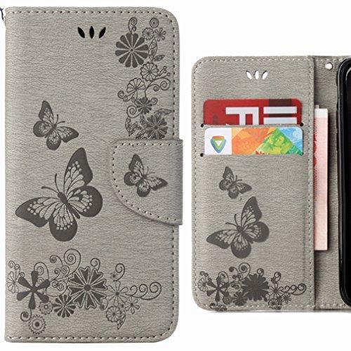 Ougger Coque pour Samsung Galaxy J3 (2016) J320 Etui, Papillon Portefeuille Housse PU Cuir Magnétique léger Soft Silicone Protecteur Flip Pochette Caoutchouc Cover Case avec Fente pour Carte (Gris)