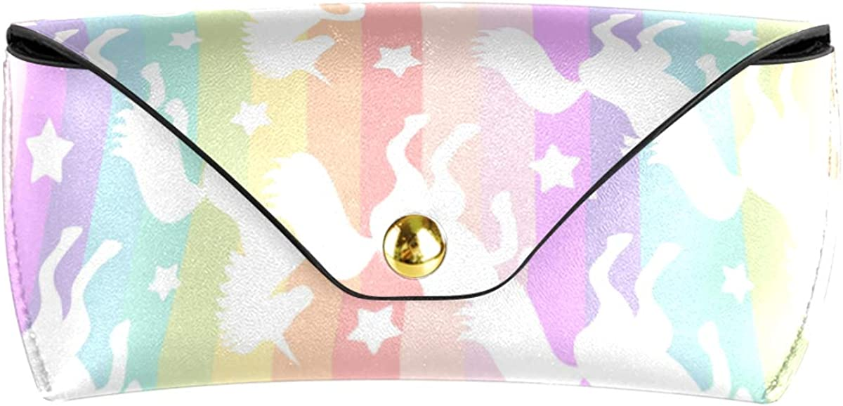 Sunglasses Case Eyeglasses Pouch Rainbow Stripe Unicorns Stars Office Goggles Bag Portable Multiuse PU Leather