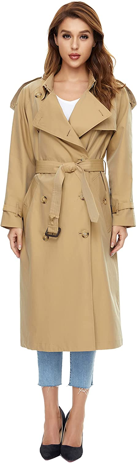 WAIDONGBEI Discount mail order Long-awaited Women's Waterproof Double-Breasted Coat Trench Classi