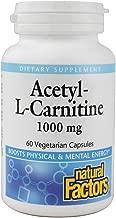 Natural Factors Acetyl L-Carnitine 500 milligrams, 60 Vegetarian Capsules