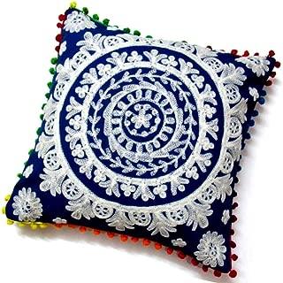 Raghav crafts Decorative Suzani Round Pillow Cover Cushion Cover Pom-Pom Sofa Cushion 16 inch
