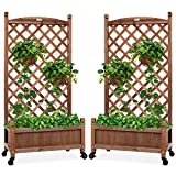 Best Choice Products Set of 2 48in Wood Planter Box & Diamond Lattice Trellis, Mobile Outdoor Raised Garden Bed for Climbing Plants w/Drainage Holes, Optional Wheels - Walnut