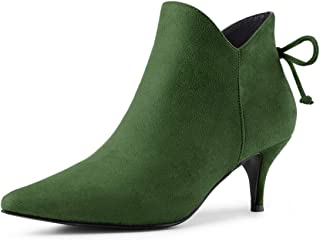 Allegra K Women's Pointed Toe Kitten Heel Ankle Booties