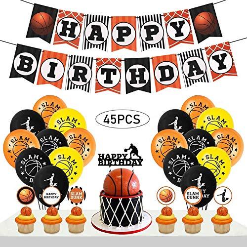 Owoda Basketball Geburtstagsdeko Jungen mit Cake Topper, Geburtstag Luftballons, Happy Birthday Banner ür Jungen Sport Thema Geburtstag Festival Party Spiele Dekoration