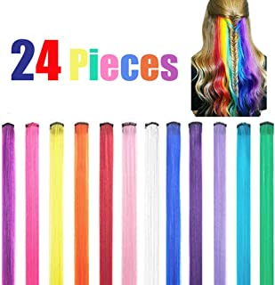 24 Pcs Colored Hair Party Highlight Multicolor Synthetic Rainbow Hairpiece Hair Extension for Kids Girls Women 20 Inch (12 Multi-Color) (24/Pcs)