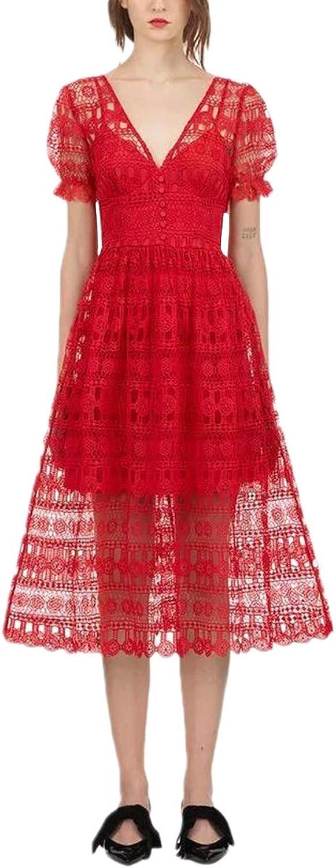 V Neck Lace Dresses Short Sleeve Aline Red Vintage Dress For Women