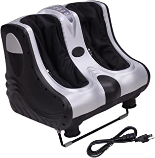 AW 80W Heat Kneading Rolling Leg Calves Ankle Foot Massager Personal Health Salon Care Silver ABS