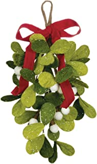 Sullivans 12-inch Felt Mistletoe Drop Hanging Decorative Ornament