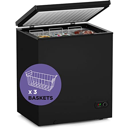 Northair Chest Freezer - 5 Cu Ft with 3 Removable Baskets - Reach In Freezer Chest - Quiet Compact Freezer - 7 Temperature Settings - Black