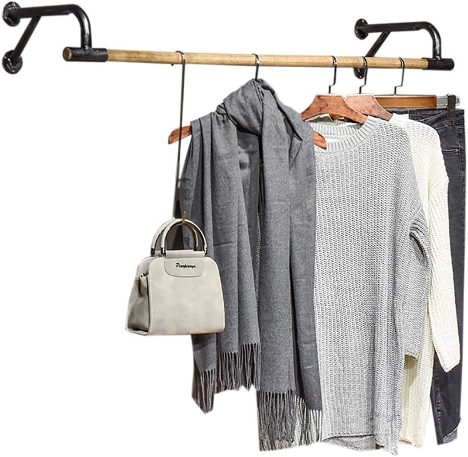 Retro Industrial Wind Multi-Function Wall Hanging Solid Wood Closet Shelf Clothing Rack Iron Hanger Book Stand Display Stand (Size   60  29  16cm)