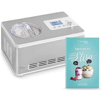 Gelatiera e Yogurtiera ELISA 2 in 1 con Compressore Autorefrigerante, 180W, 2L, Macchina per Gelato & Yogurt Automatico in Acciaio inox, Gruppo Freddo Integrato, Cestello per Gelato Estraibile