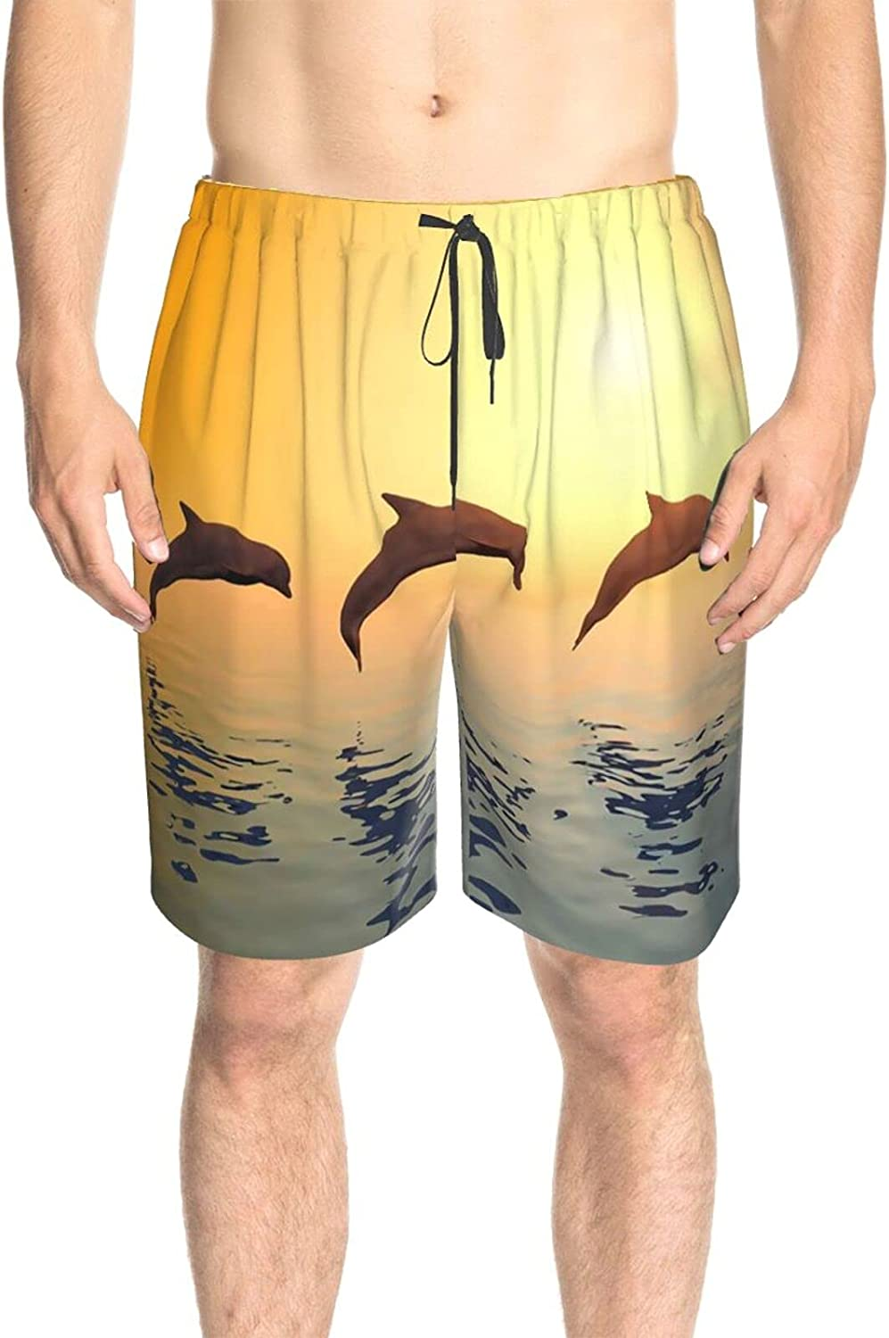 Men's Swim Shorts Jumping Dolphin Sunset Swim Board Shorts Quick Dry Comfy Athletic Swimwear Shorts with Pockets