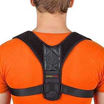 "Leramed Posture Corrector for Men and Women - Adjustable Upper Back Brace for Clavicle Support and Providing Pain Relief from Neck, Back and Shoulder (Chest Size 25"" - 50"")"