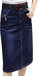 KLJR Women Jean Pocket Wash Slimming A-Line Bodycon Knee Length Skirt